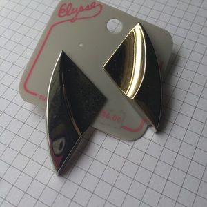 Vintage Silver Tone Triangle Earrings